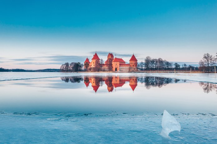 castle with water reflection