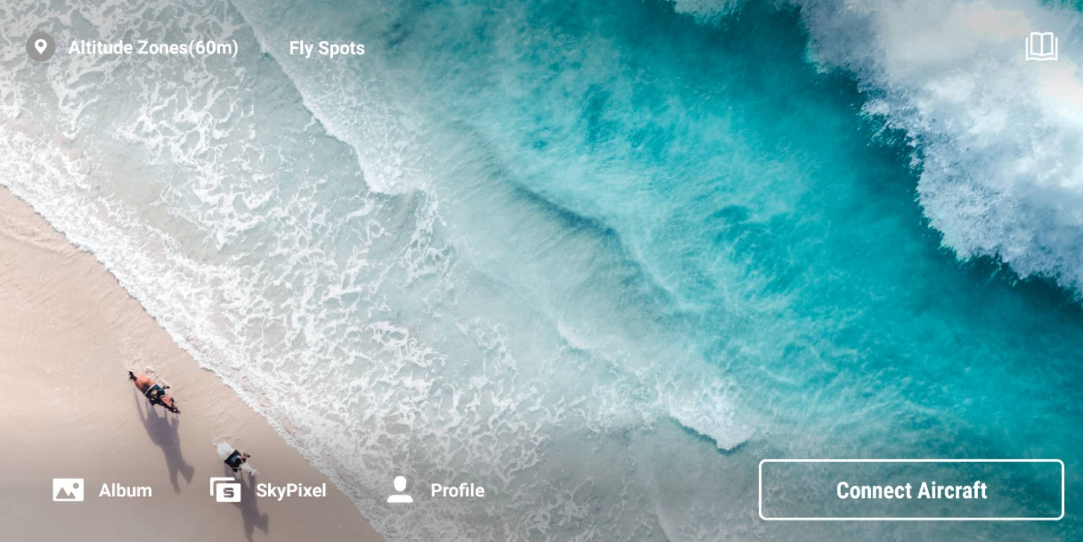 The home screen of DJI Fly app
