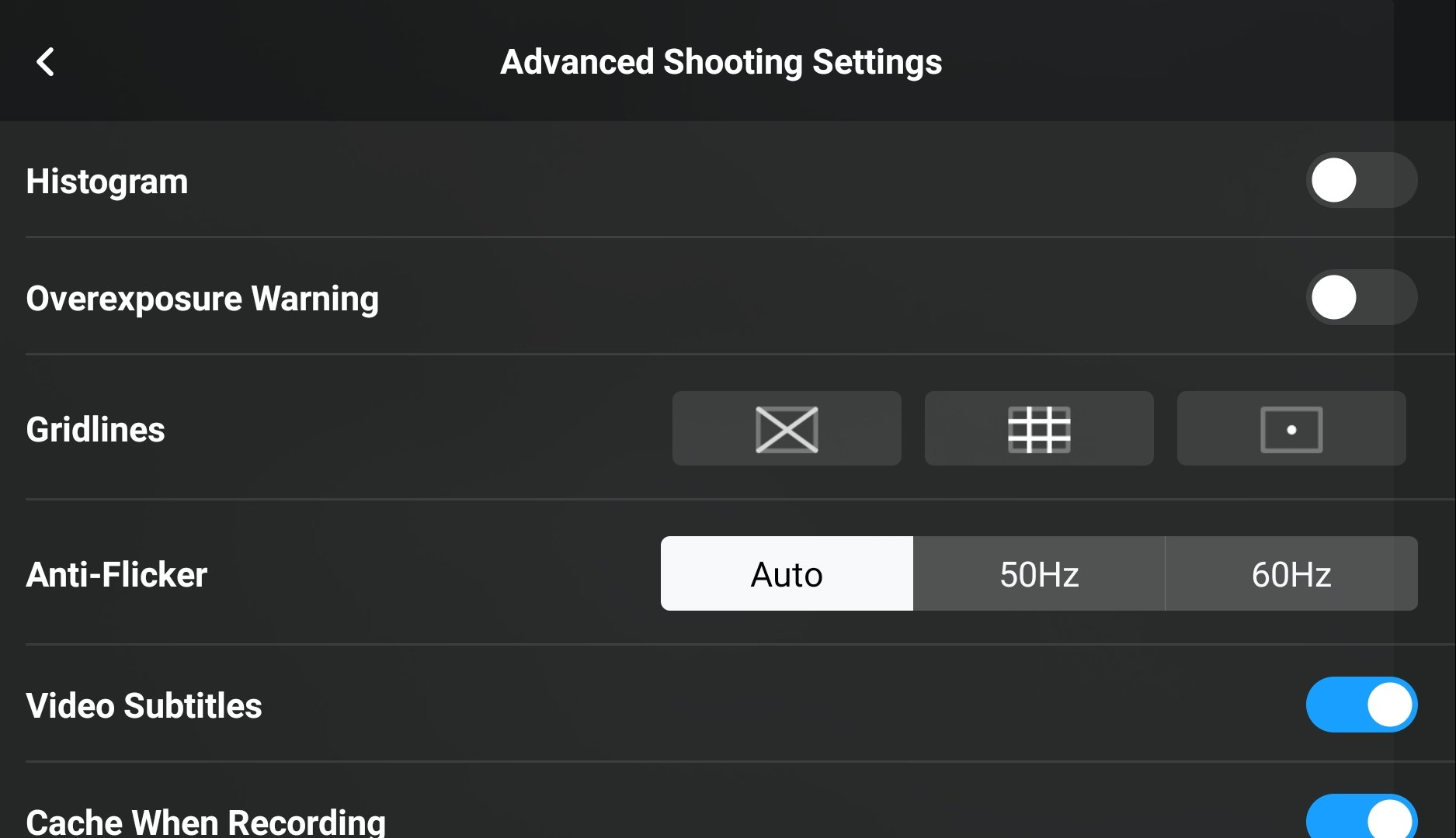 DJI Fly app Advanced Shooting Settings
