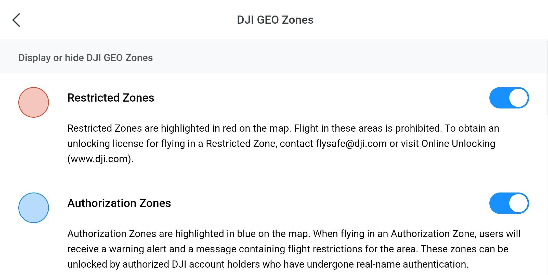 DJI Fly GEO Zones