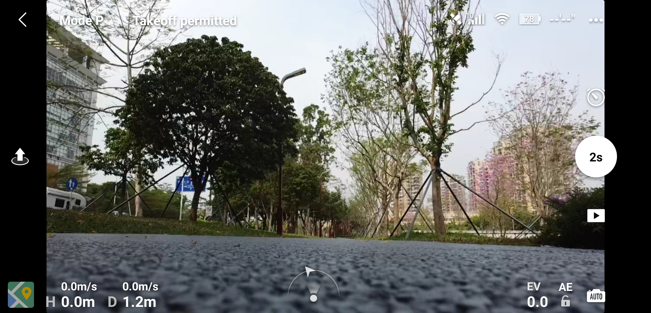 Mavic Mini Take Off Screen in DJI Fly app
