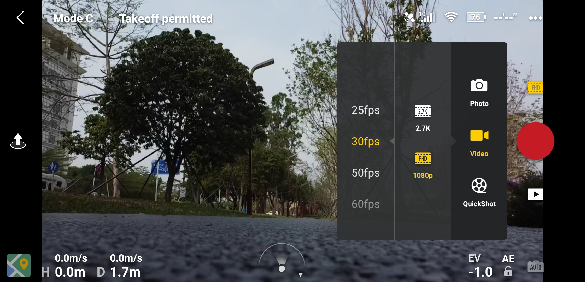 Mavic Mini Video specs in DJI pilot software