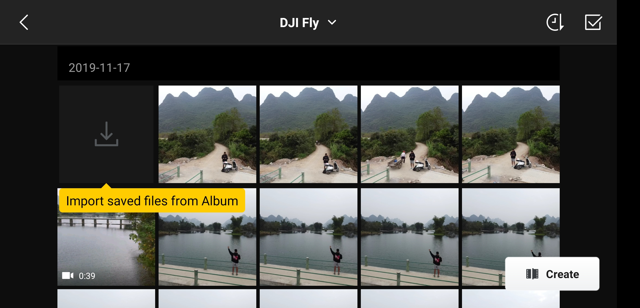 Mavic Mini Album in DJI Fly app