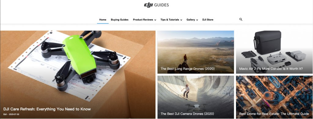 DJI guides home page