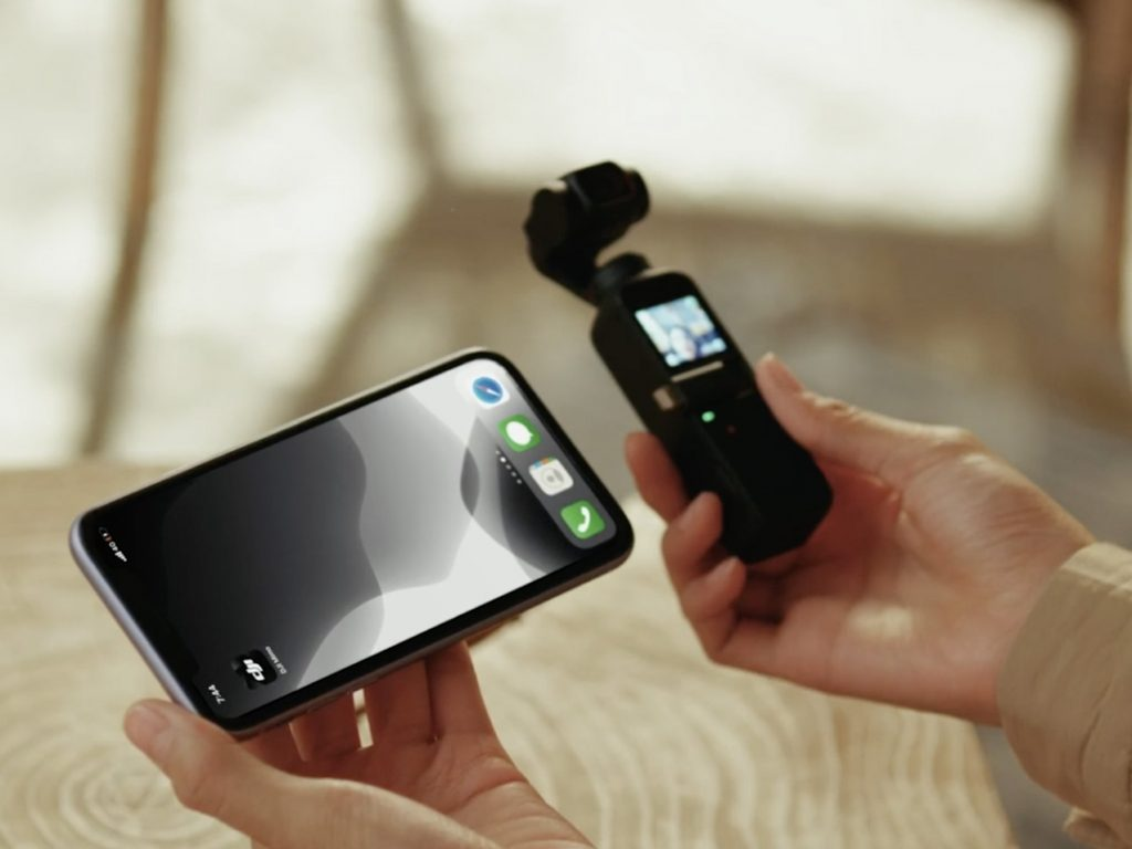 DJI Pocket 2 camera with smartphone
