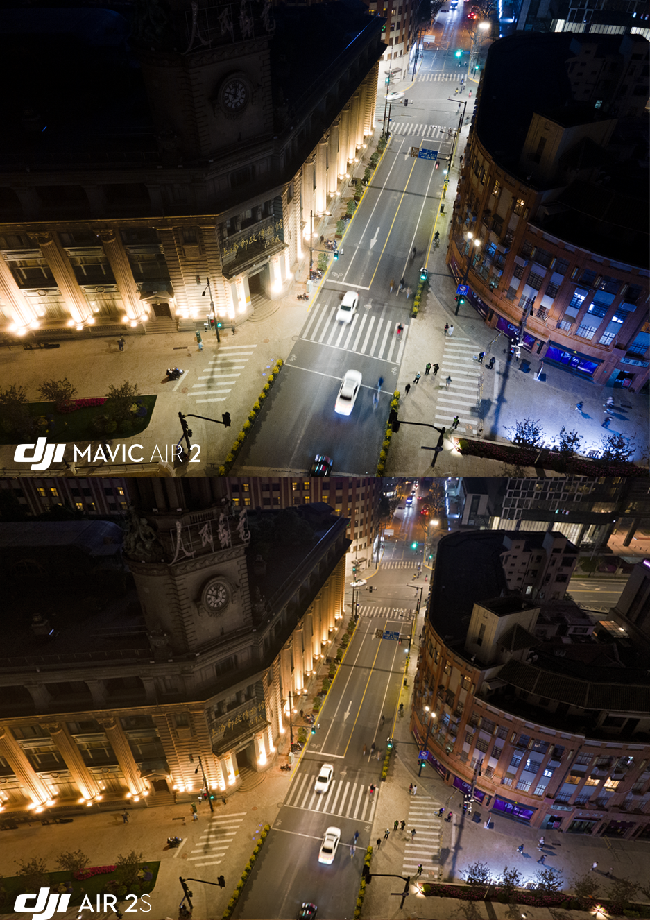 The DJI Air 2S is able to capture more details in the shadows when compared to the DJI Mavic Air 2