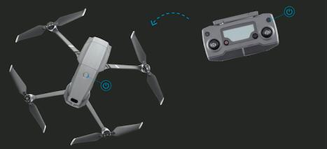 开启Mavic 2遥控器和飞行器